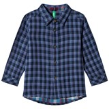 United Colors of Benetton Blue Check Flannel L/S Shirt With Elbow Patches