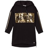 So Twee Black Gold Sequin Hoody Dress
