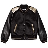 So Twee Black Faux Leather and Pony Skin Bomber Jacket with Sequin Back