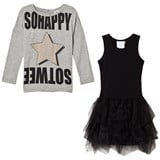So Twee Grey Star Studded Jersey Tee and Tulle Skirt Dress