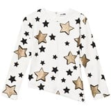 So Twee Cream Asymetrical Hem Glitter Star Tee