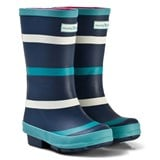 Muddy Puddles Navy with Green and White Stripe Puddlestomper Wellies