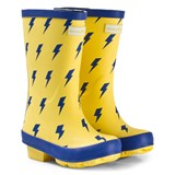 Muddy Puddles Yellow with Blue Lightning Print Puddlestomper Wellies