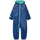 Muddy Puddles Blue and Navy Stripe Ecosplash Hooded All In One