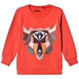 IKKS Orange Moose Applique Sweatshirt
