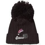 IKKS Black Pom Pom Beanie with Mesh Detail