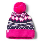 Joules Pink and Navy Fairisle Bobble Hat