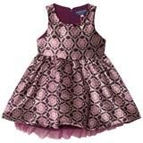 Andy & Evan Pink Maroon Sleeveless Brocade Party Dress