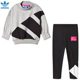 adidas Originals Grey and Black Branded Crew Tracksuit