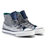 Converse Grey Shimmer and Navy Kids Chuck Taylor All Star - Hi