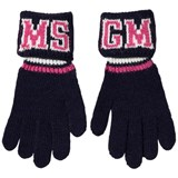 MSGM Navy and Pink Logo Knit Gloves