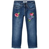 MSGM Blue Mid Wash Floral Embroidered Kick Flare Jeans