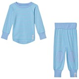 Geggamoja Bamboo Two-Piece Pyjamas L.Blue/Turquoise
