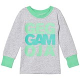 Geggamoja Green and Grey Logo Sweater