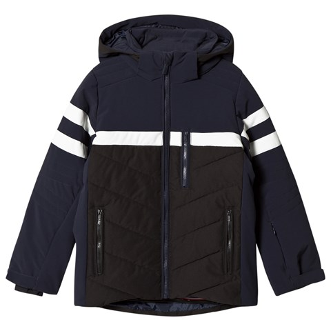 Fusalp Navy and Black Front Criterium Ski Hooded Jacket