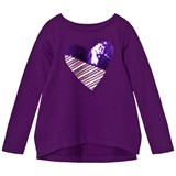 Lands' End Purple Long Sleeve Sparkle Heart Embellished Sweatshirt Top