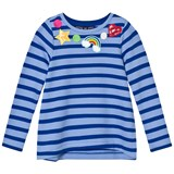 Lands' End Blue Stripe Patches Around Neck Embellished Sweatshirt Top