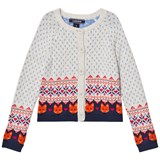 Lands' End Cream Fox Fairisle Cardigan