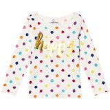 Lands' End White with Multi Colour Dots Long Sleeve Graphic Tee