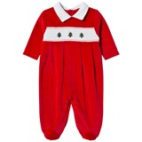 Kissy Kissy Red Velour Christmas Tree Embroidred and Smocked Babygrow