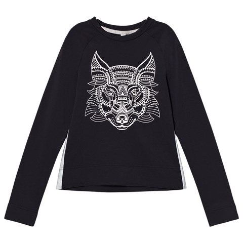 Poivre Blanc Navy Base Layer Top with Metallic Wolf Print
