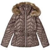 Poivre Blanc Khaki Quilted Down Belted Jacket with Faux Fur Hood