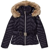 Poivre Blanc Navy Quilted Down Belted Jacket with Faux Fur Hood