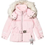 Poivre Blanc Pale Pink Belted Faux Fur Hood Ski Jacket with Embroidered Back