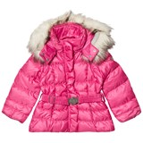 Poivre Blanc Pink Belted Down Ski Jacket with Faux Fur Hood