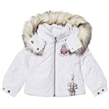 Poivre Blanc White Insulated Ski Jacket with Emroidered Back and Front