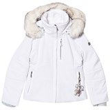Poivre Blanc White Fitted Stretch Ski Jacket with Faux Fur Hood