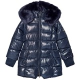 Mayoral Navy Shimmer Long Line Hooded Puffer Coat