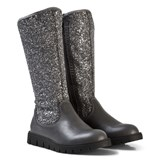 Lelli Kelly Black Glitter Leather Tall Boots
