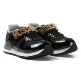 Moschino Black Patent and Textile Branded Elastic Lace Trainers
