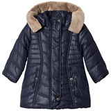 Mayoral Navy Padded Coat with Faux Fur Hood