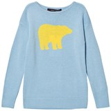 Perfect Moment Pale Blue and Yellow Crewneck Bear Print Sweater