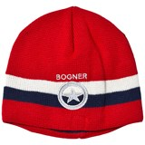 Bogner Red Branded Theo Stripe Beanie