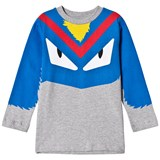 Fendi Grey and Blue Monster Print Long Sleeve Tee