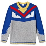 Fendi Grey and Blue Monster Knit Intarsia Jumper