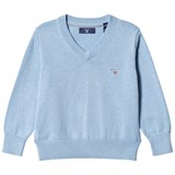 Gant Lake Blue V Neck Cotton Jumper