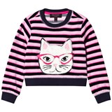 Juicy Couture Pink and Navy Faux Fur Cat Face Jumper
