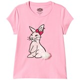 Juicy Couture Pink Bunny Sequin Patch Tee with Pom Pom
