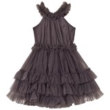 DOLLY by Le Petit Tom Slate Grey Ruffled Chiffon Dance Dress