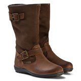Primigi Chestnut Leather and Suede Gore-Tex Buckle Tall Boots