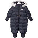 Armani Junior Navy Padded Hooded Snowsuit with Logo