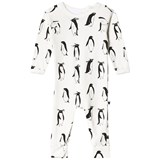 Tobias & The Bear White Long Romper With Black Penguin Print