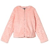 Guess Pink Textured Faux Fur Jacket
