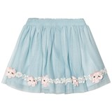 Kate Mack - Biscotti Blue Tulle Skirt with Flower Appliques