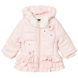 Kate Mack - Biscotti Pink Ruffle Hem Embroidered and Faux Fur Hooded Puffer Jacket