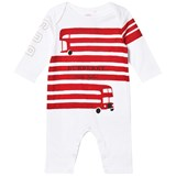 Burberry White and Red Bus Print Footless Babygrow